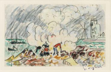 Paul Signac-Pointe De Penmarc'H, Les Bruleurs De Goemon A Saint-Pierre Kerity (Page De Carnet)-1929