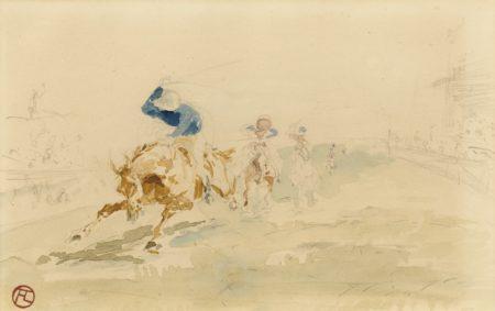 Henri de Toulouse-Lautrec-Course De Chevaux - Recto Babylone D'Allemagne (Premiere Etude Pour L'Affiche - Delteil No. 351) - Verso-1894