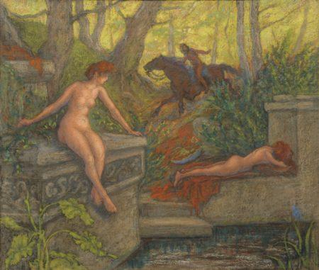 Paul Elie Ranson-Deux Nymphes Surprises Par Un Cavalier-1905