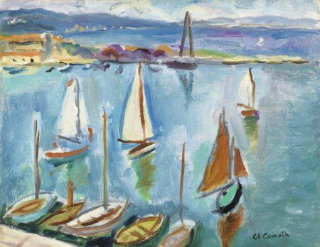 Charles Camoin-Quatre Petits Voiliers Dans Le Port De Saint-Tropez-1947