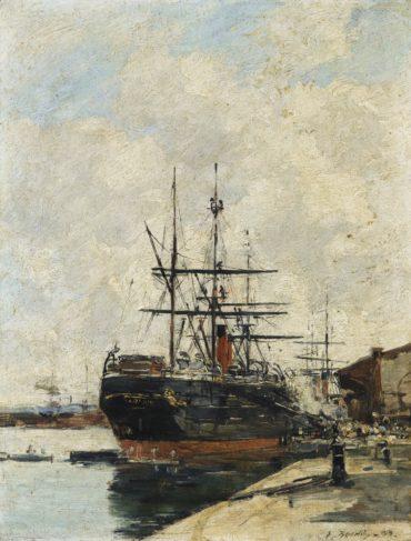 Eugene Louis Boudin-Le Havre. Chargement D'Un Cargo.-1883
