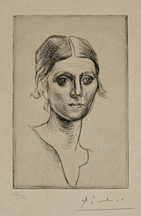 Pablo Picasso-Portrait D'Olga Picasso (B. 37; Ba. 57)-1920