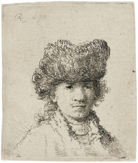 Rembrandt van Rijn-Self-Portrait In A Fur Cap: Bust (B., Holl. 24; New Holl. 72; H. 29)-1630