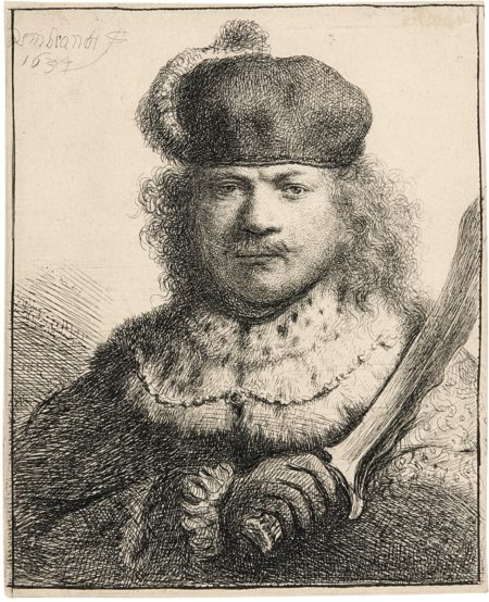 Rembrandt van Rijn-Self-Portrait With Raised Sabre (B., Holl. 18; New Holl. 134; H. 109)-1634