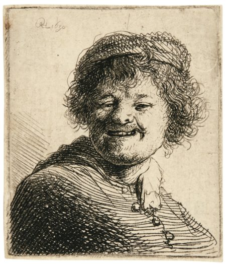 Rembrandt van Rijn-Self-Portrait In A Cap: Laughing (B., Holl 316; New Holl. 70; H. 34)-1630