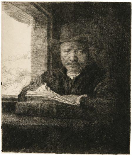 Rembrandt van Rijn-Self-Portrait Etching At A Window (B., Holl. 22; New Holl. 240; H. 229)-1648