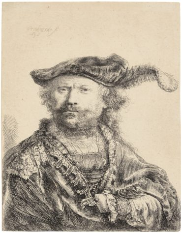 Self-Portrait In A Velvet Cap With Plume (B., Holl. 20; New Holl. 170; H. 156)
