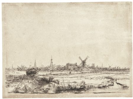 Rembrandt van Rijn-View Of Amsterdam From The Kadijk (B., Holl. 210; New Holl. 203; H. 176)-1642