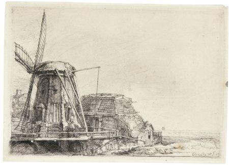 Rembrandt van Rijn-The Windmill (B., Holl. 233; New Holl. 200; H. 179)-1641