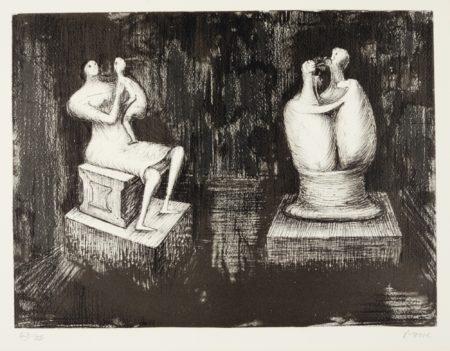 Henry Moore-Sculptures Dark Interior (C. 373)-1973
