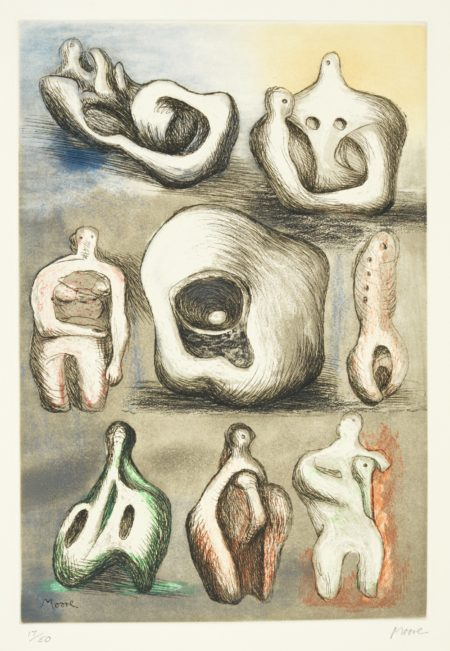 Henry Moore-Four Colour Etchings: Eight Sculptural Ideas; Seated Mother And Child; Seven Sculptural Ideas I; And Seven Sculptural Ideas Ii (C. 587-590)-1981