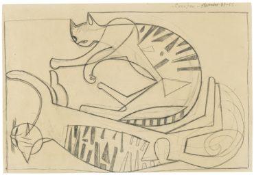 John Craxton-Cats Playing-1955