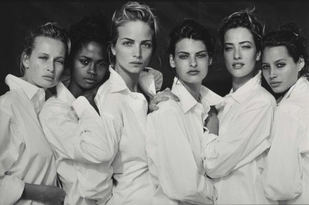 Peter Lindbergh-Estelle Lefebure, Karen Alexander, Rachel Williams, Linda Evangelista, Tatjana Patitz, Christy Turlington, Santa Monica, California-1988
