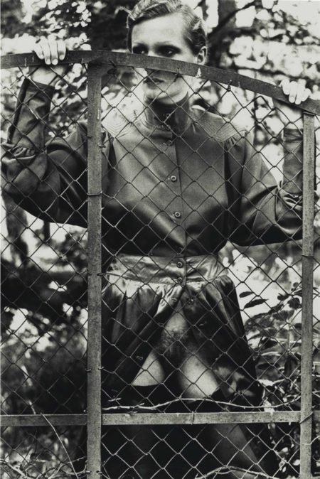 Helmut Newton-Roselyne Behind Fence, Arcangues, France-1975