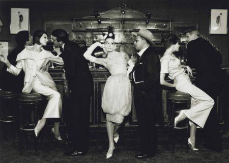 Richard Avedon-Audrey Hepburn And Art Buchwald With Simone, Barbara Mullen, Frederick Eberstadt And Dr. Reginald Kernan, Evening Dresses By Balmain, Dior, Patou, Maxims, Paris, August-1959