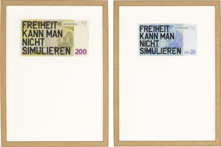 Rirkrit Tiravanija-I. Untitled 2012 (200 Euro Freiheit Kann Man Nicht Simulieren) Ii. Untitled 2012 (20 Euro Freiheit Kann Man Nicht Simulieren)-2012