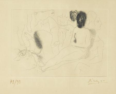 Pablo Picasso-Nu Assis Entoure Desquisses De Betes Et Dhommes, Pl. 10, From Le Chef-D OEUvre Inconnu (B. 91; Ba. 132)-1927