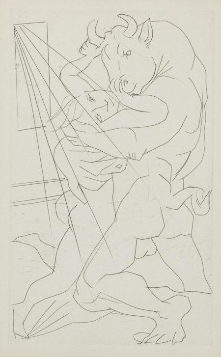 Pablo Picasso-Minotaure Embrassant Une Femme (B. 283; Ba. 431)-1934