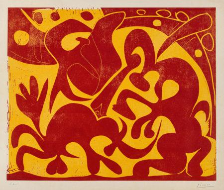 Pablo Picasso-La Pique (Rouge Et Jaune) (B. 908; Ba. 1227)-1959