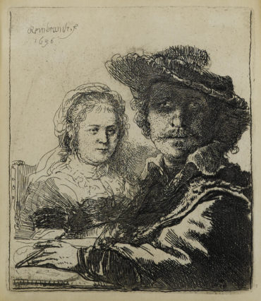 Rembrandt van Rijn-Self-Portrait With Saskia (B., Holl. 19; H. 144; New Holl. 158)-1636