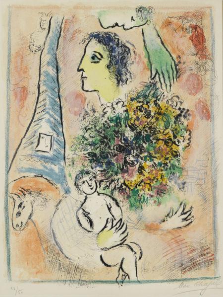 Marc Chagall-Offrande A La Tour Eiffel (M. 416 Bis.)-1964