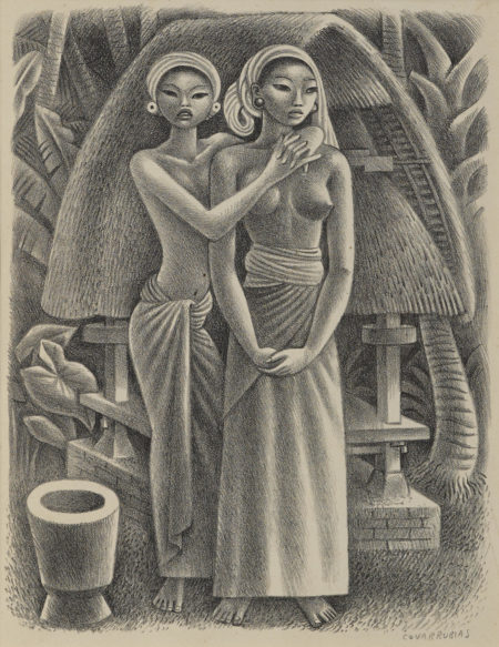 Miguel Covarrubias-Rice Granary, Bali; Tehuantepec River, Oaxaca-1951