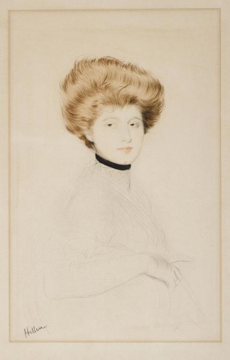 Paul Cesar Helleu-Femme Avec Un Col De Velours-1900