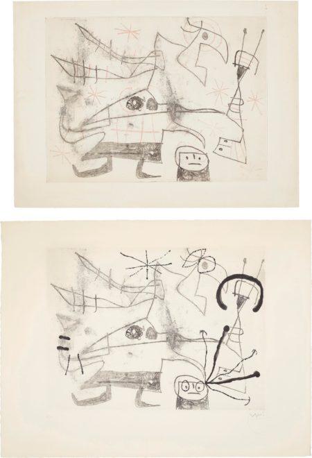 Joan Miro-Femme-Oiseau I: Two Impressions-1960