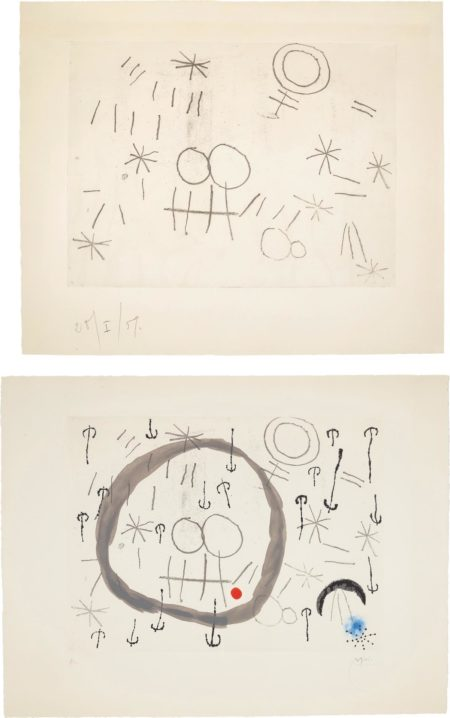 Joan Miro-Giboulees (Hail Storm): Two Impressions-1960