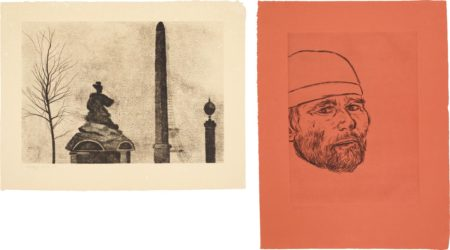 RB Kitaj-Place De La Concorde; And Self Portrait (After Matteo)-1982