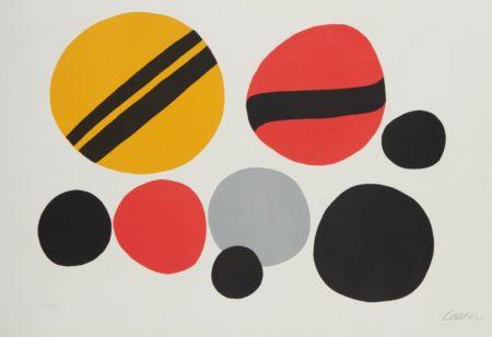 Alexander Calder-Chevrons Noir Sur Rouge Et Jaune-1960