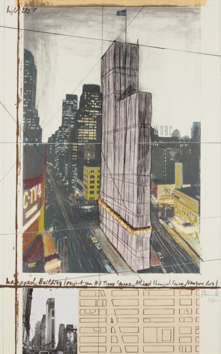 Christo And Jeanne-Claude - Wrapped Building, Project For #1 Times Square, Allied Chemical Tower, New York-1991