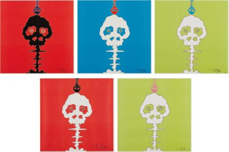 Takashi Murakami-Lime Green - Time; Red - Time; Time Bokan - Green; Time Bokan - Blue; And Time Bokan - Red-2008