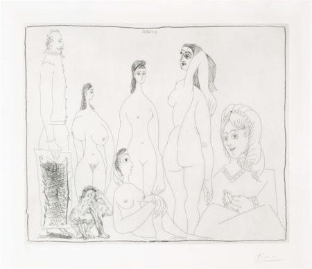 Peintre Longiline Avec Des Femmes, Dont Une Petite Pisseuse, From La Serie 347-1968