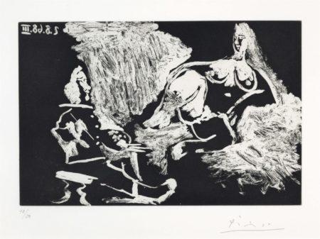 Pablo Picasso-Peintre Avec Un Modele A Demi Allonge, From La Serie 347-1968