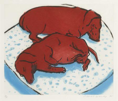 David Hockney-Horizontal Dogs (M.C.A.T. 346)-1995