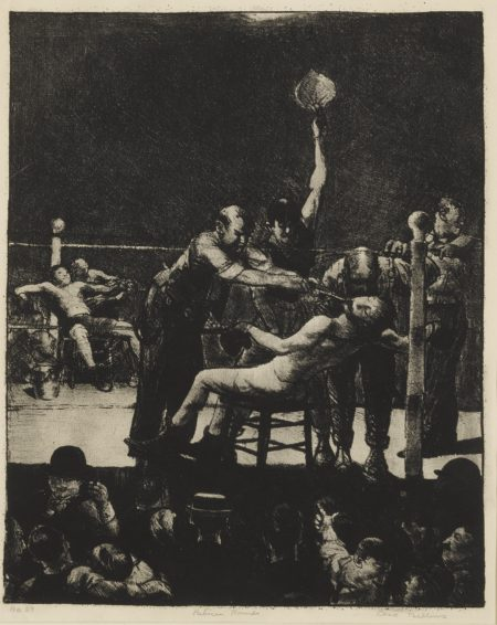 George Wesley Bellows - Between Rounds, Large, First Stone (M. 25)-1916