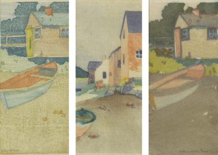 Arthur Wesley Dow - The Dory; A Gray Day (Houses On A Beach); And The Dory-1895