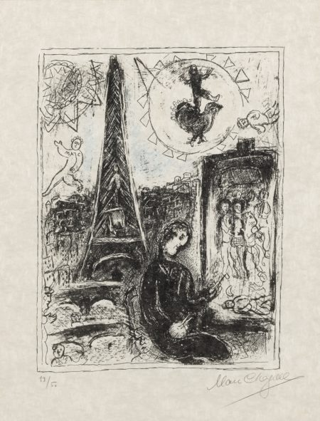 Marc Chagall-The Painter At The Eiffel Tower (M. 949)-1979