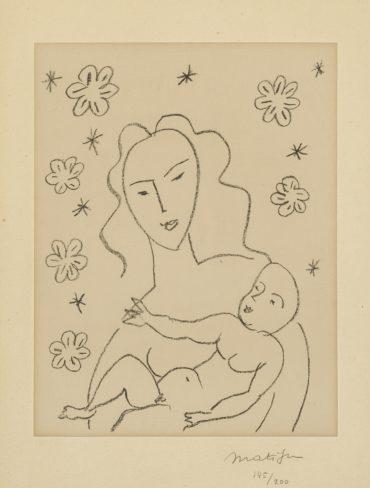 Henri Matisse-Vierge Et Enfant Sur Fond De Fleurs Et Detoiles (D. 646)-1951