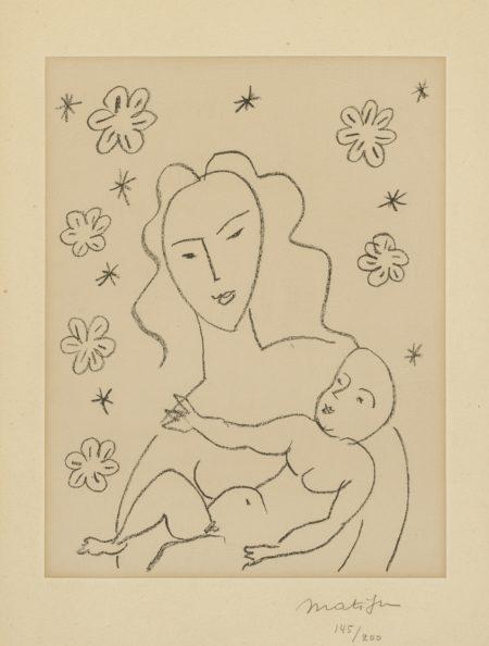 Vierge Et Enfant Sur Fond De Fleurs Et Detoiles (D. 646)-1951