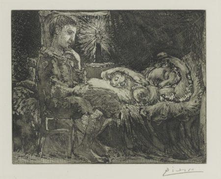 Pablo Picasso-Garcon Pensif Veillant Une Dormeuse A La Lumiere Dune Chandelle (B. 226; Ba. 440)-1934