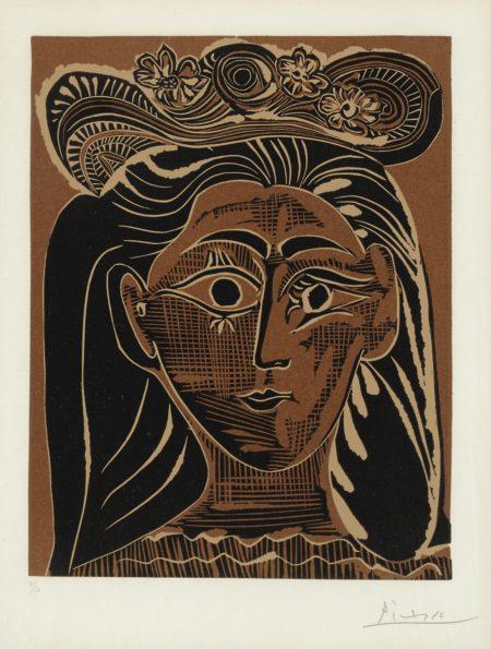 Pablo Picasso-Portrait De Jacqueline Au Chapeau De Paille Fleuri (B. 1075; Ba. 1322)-1962