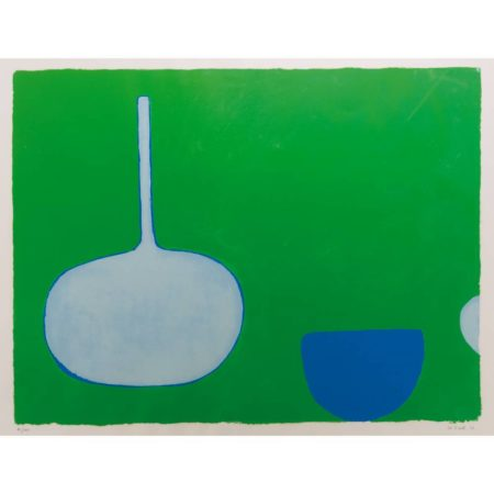 William Scott-Pan and Bowl, Blues on Green-1970