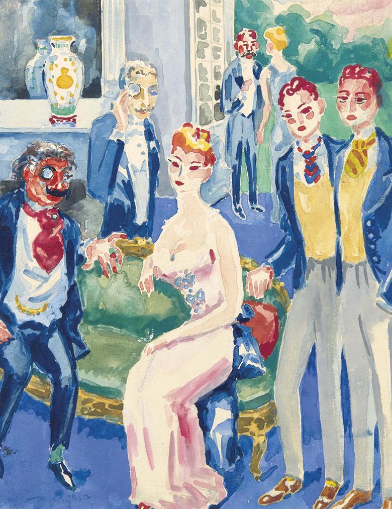 Kees van Dongen-Charlus Se Fait Presenter Les Fils De Surgis (A La Recherche Du Temps Perdu)-1947