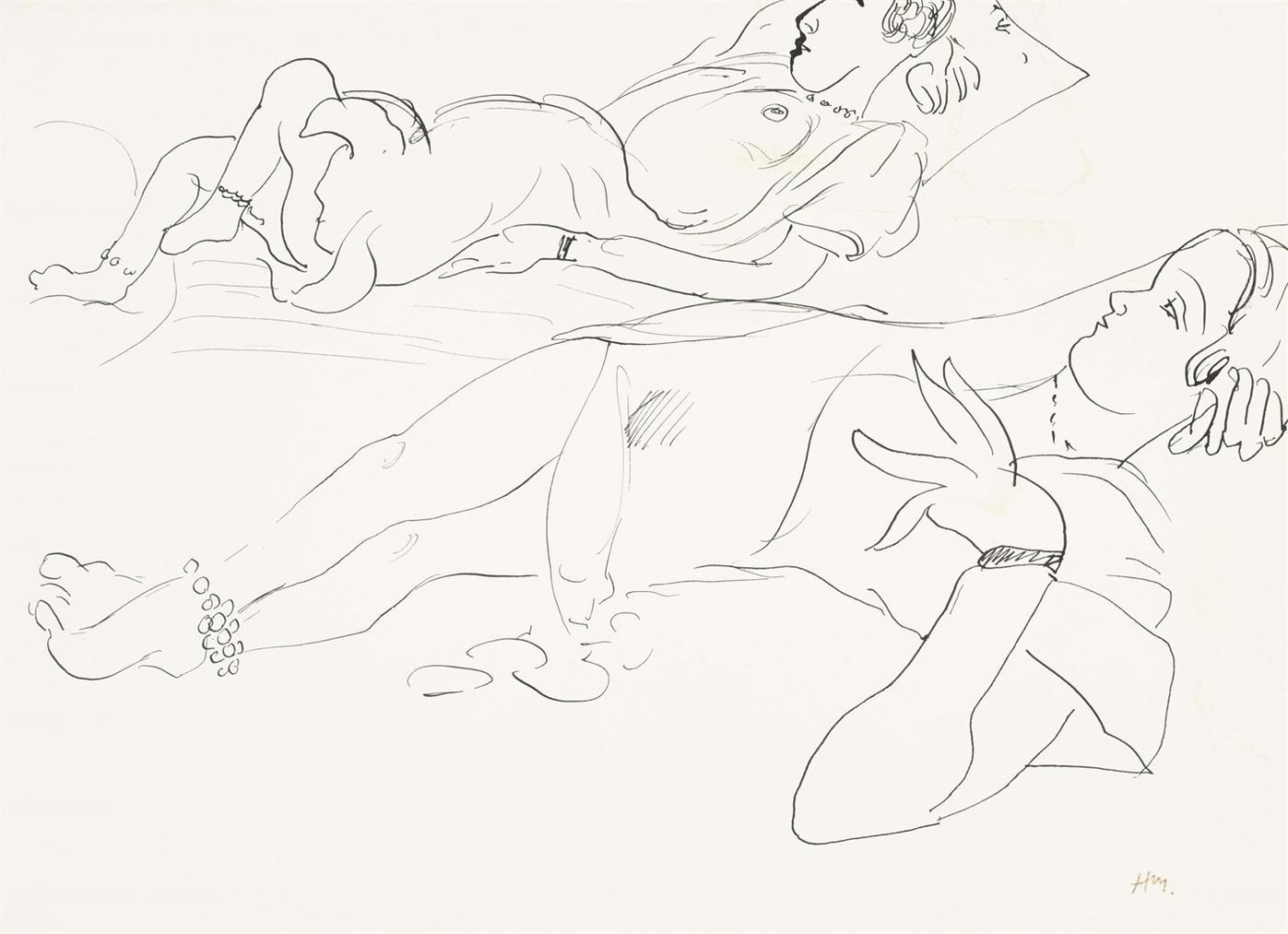 Henri Matisse-Deux Croquis De Femme Allongee-1927