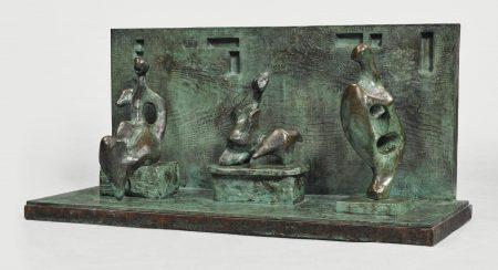Henry Moore-Three Motives Against Wall No. 1-1958