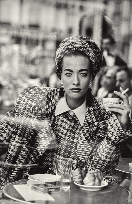Peter Lindbergh-Tatjana Patitz, Vogue France, Cafe De Flore, Paris, 1985-1985