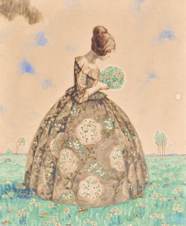 Young Woman with Floral Dress