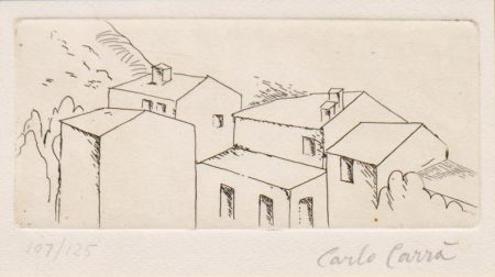 Carlo Carra-Untitled (Houses in Belgirate)-1957